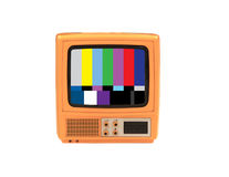Vintage Things. TV. Vintage 1960s Portable Television with TV test isolated on white Royalty Free Stock Photo