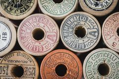 Free Vintage Thread Spools In Color Royalty Free Stock Photo - 132197955