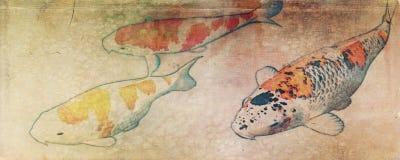 Vintage three koi fish royalty free illustration