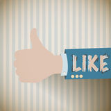 Vintage thumb up, i like background vector illustration