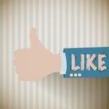 Vintage thumb up, i like background Stock Image