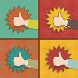 Vintage Thumb Up Like Hands. Abstract Design vector illustration