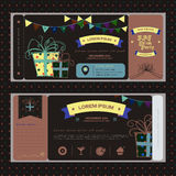 Vintage ticket for NIGHT birthday party or other celebration Royalty Free Stock Photo
