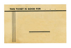 Vintage Ticket on White Stock Images