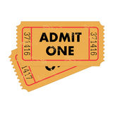Vintage Tickets. Illustration of vintage admit one tickets isolated on a white background Stock Image