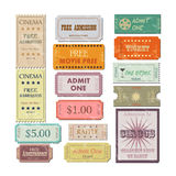 Vintage Tickets Illustration. Illustration of various colorful vintage tickets isolated on a white background Stock Photography