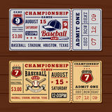 Vintage tickets to the championship baseball and softball Stock Image