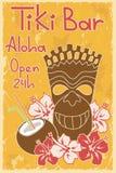 Vintage Tiki bar poster. Vintage Hawaiian poster. Invitation to Tiki bar Royalty Free Stock Photography