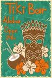 Vintage Tiki bar poster. Vintage Hawaiian poster. Invitation to Tiki bar Royalty Free Stock Photos