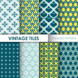 8 Vintage Tile Backgrounds. Vintage Tile Backgrounds - 8 seamless patterns for design and scrapbook - in vector royalty free illustration