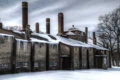 Vintage tile factory with icicles Stock Photography
