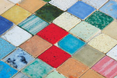 Vintage tiles. Multi-colored ceramic background close-up Stock Images