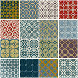 Vintage tiles with grunge textures seamless patterns set. Royalty Free Stock Photography