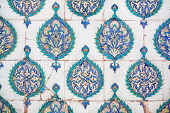 Vintage tiles with original floral patterns in old Ottoman style, made in 16th century Stock Image