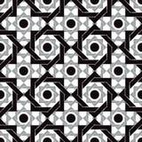 Vintage tiles seamless pattern, black and white vector backgroun Royalty Free Stock Photo