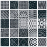 Vintage tiles seamless patterns, 25 monochrome designs vector se. T Royalty Free Stock Image