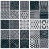 Vintage tiles seamless patterns, 25 monochrome designs vector se. T stock illustration