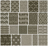 Vintage tiles seamless patterns, 20 monochrome designs vector se Stock Photography