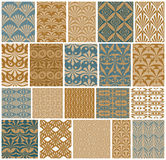 Vintage tiles seamless patterns vector set. Stock Photo