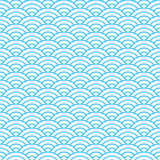Vintage tiling seamless pattern with sea waves. Abstract retro ornament made of semi-circular shapes Stock Photography