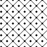 Vintage tiling seamless pattern with simple geometric shapes. Abstract background made of black check greed. Endless vector texture for wallpaper, wrapping Stock Image