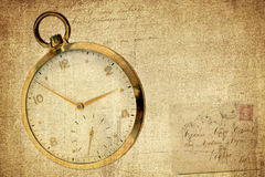 Vintage Timepiece on grunge textured background Stock Photography