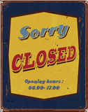 Vintage tin poster sorry closed sign Royalty Free Stock Images