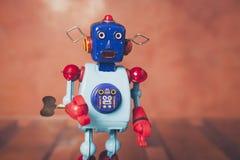 Vintage tin robot, close up. Stock Photo