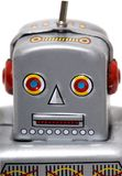 Vintage tin robot toy. Isolated on a white background Stock Image