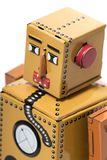 Vintage tin robot toy. Isolated on a white background Royalty Free Stock Photography