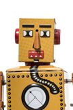Vintage tin robot toy. Isolated on a white background Stock Photos