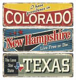 Vintage tin sign collection with America state. Colorado. New Hampshire. texas. Retro souvenirs or postcard templates on rust back. Ground. American flag. Stars Royalty Free Stock Photography