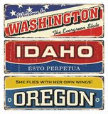 Vintage tin sign collection with America state. Washington. Idaho. Oregon. Retro souvenirs or postcard templates on rust backgroun. D Stock Image
