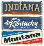 Vintage tin sign collection with US. Indiana. Kentucky. Montana. royalty free illustration