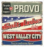 Vintage tin sign collection with USA cities. Provo. Salt Lake. West Valley. California. Utah. Retro souvenirs or postcard template. S on rust background Stock Photography