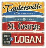 Vintage tin sign collection with USA cities. Tourist destination. Top ten. City. America. Retro souvenirs or postcard templates on. Rust background Stock Photos
