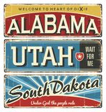 Vintage tin sign collection with USA state. Alabama. Utah. South Dakota. Retro souvenirs or postcard templates on rust background. Dixie. South Royalty Free Stock Images