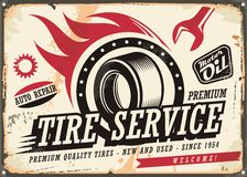 Vintage tin sign for tire service Royalty Free Stock Photography