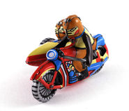 Vintage Tin Toy. Of a motorbike with sidecar Stock Photos