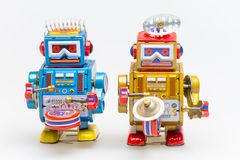 Vintage tin toy robot. In white background Royalty Free Stock Images