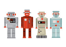 Vintage tin toy robots /illustration Stock Image
