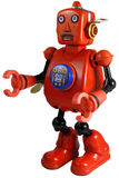 Vintage tin windup robot toy. Windup tin toy robot from the 1960s, with a walking action, moving arms and a loud buzzing sound Royalty Free Stock Image