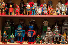Vintage tinplate robots on display at HOMI, home international show in Milan, Italy Royalty Free Stock Images