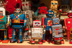 Vintage tinplate robots on display at HOMI, home international show in Milan, Italy Stock Image
