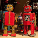 Vintage tinplate robots on display at HOMI, home international show in Milan, Italy. MILAN, ITALY - SEPTEMBER 13: Vintage tinplate robots on display at HOMI Stock Photo