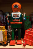 Vintage tinplate robots on display at HOMI, home international show in Milan, Italy. MILAN, ITALY - SEPTEMBER 13: Vintage tinplate robots on display at HOMI Stock Photos