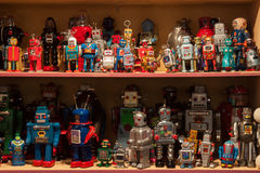 Vintage tinplate robots on display at HOMI, home international show in Milan, Italy Stock Photo
