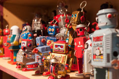 Vintage tinplate robots on display at HOMI, home international show in Milan, Italy Stock Images