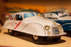 Vintage tinplate toys on display at HOMI, home international show in Milan, Italy Stock Image