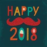 Vintage tipográfico de la tarjeta de la Feliz Año Nuevo 2018 en la marina de guerra ilustración del vector
